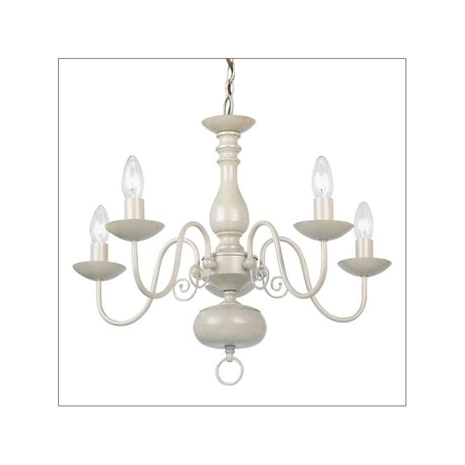 The Lighting Directory NATALIE traditional 5 light cream chandelier