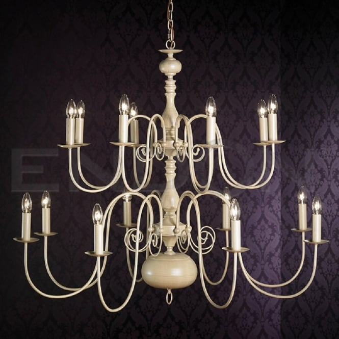 The Lighting Directory NATALIE very large 16 light traditional cream chandelier