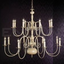 NATALIE very large 16 light traditional cream chandelier