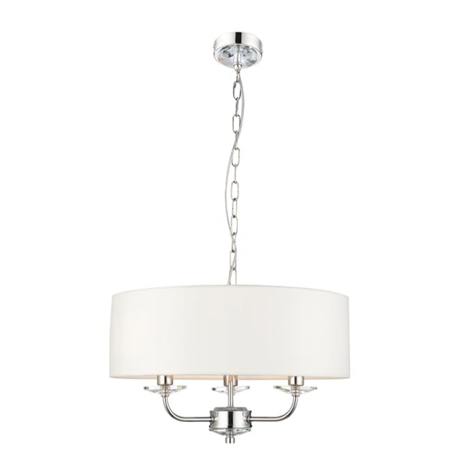 NIXON 3 light nickel ceiling pendant with white surround shade