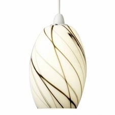 OXON easy fit white glass ceiling light with black scribble swirls (discontinued - last stock)