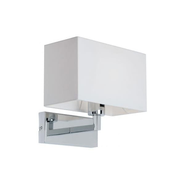 Chrome Wall Light With White Shade : Contemporary Chrome Wall Light with White Box Shade