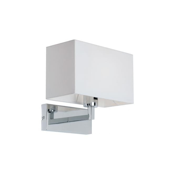 White Box Wall Lights : Contemporary Chrome Wall Light with White Box Shade