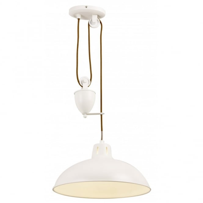 The Lighting Directory POLKA cream rise and fall ceiling pendant light