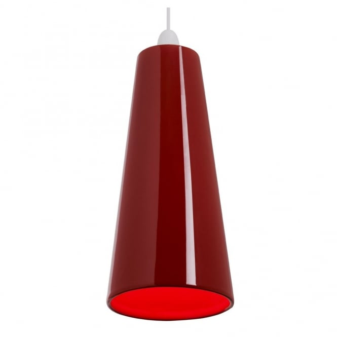 The Lighting Directory PRESTON easy fit slimline red ceramic ceiling pendant