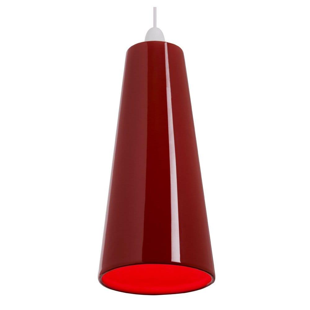 Modern Red Pendant Lighting : Preston easy fit slimline modern red ceiling pendant light