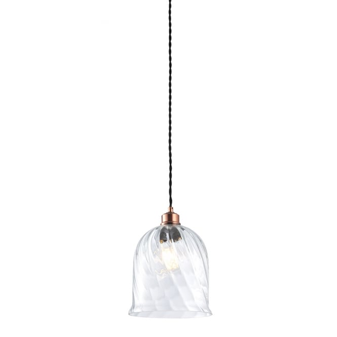 ROSALIE clear twisted glass easy fit pendant shade