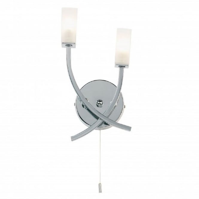 Chrome Wall Lights With Pull Cord : Modern Chrome Double Wall Light with Pull Cord Switch
