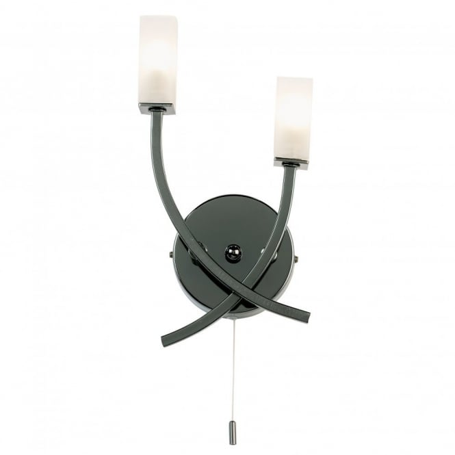Tiffany Switched Wall Lights : Buy Double Black Chrome Wall Lights. Side light with Pull Switch.