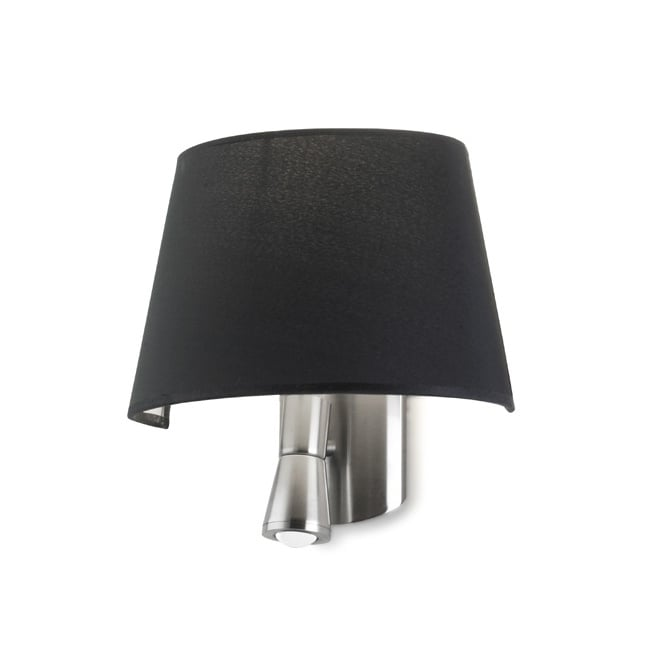 The One BALMORAL modern bedside wall light (black shade)