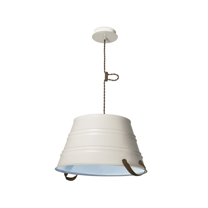The One BUCKET rustic design ceiling pendant in old white finish with blue inner (medium)