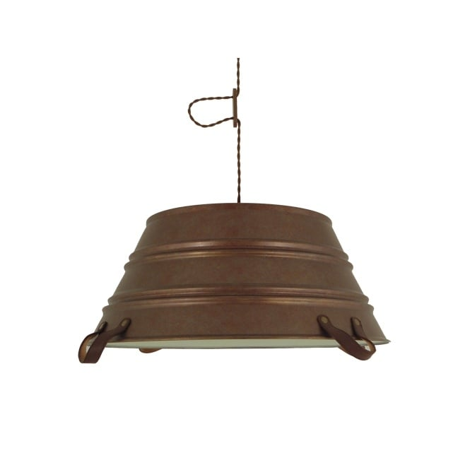 The One BUCKET rustic design ceiling pendant in rusty bronze finish (large)