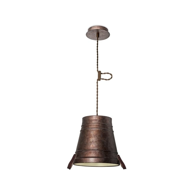 The One BUCKET rustic design ceiling pendant in rusty bronze finish