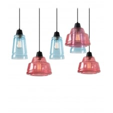 modern 5 light ceiling pendant cluster in pink and blue