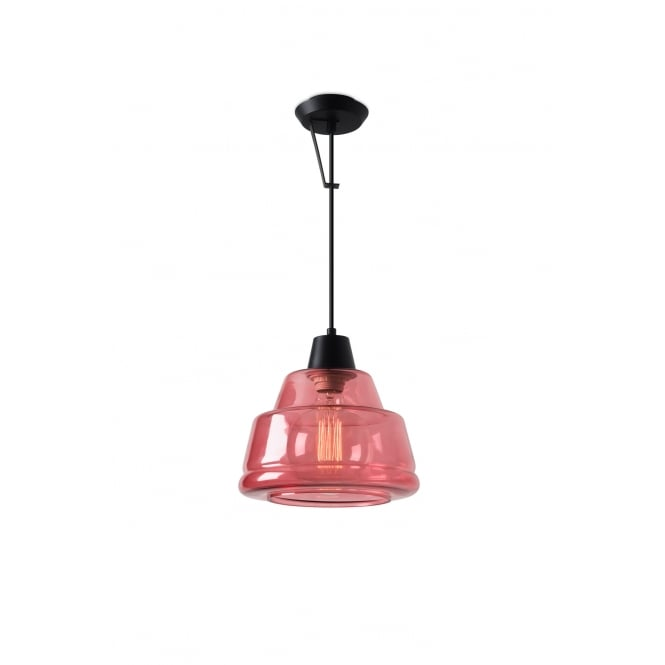 COLOR pink glass ceiling or wall pendant with matte black suspension