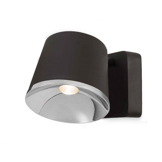 DRONE dark brown and chrome LED wall light