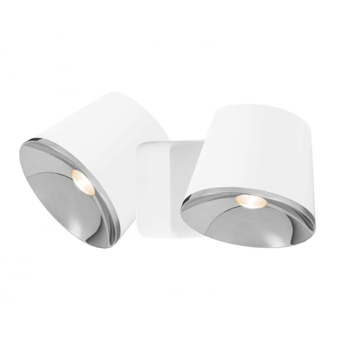 The One DRONE matte white and chrome LED double wall light