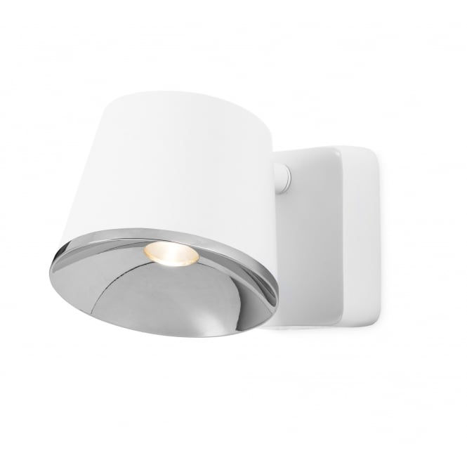The One DRONE matte white and chrome LED wall light