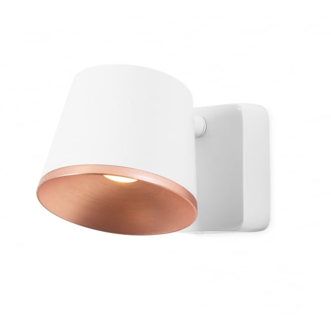 DRONE matte white and copper LED wall light