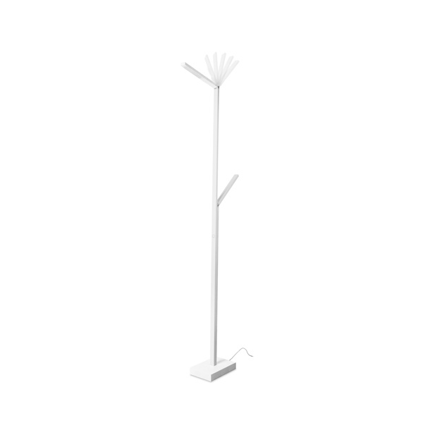 Contemporary led floor lamp in white with two angle able arms for Modern white floor lamp uk