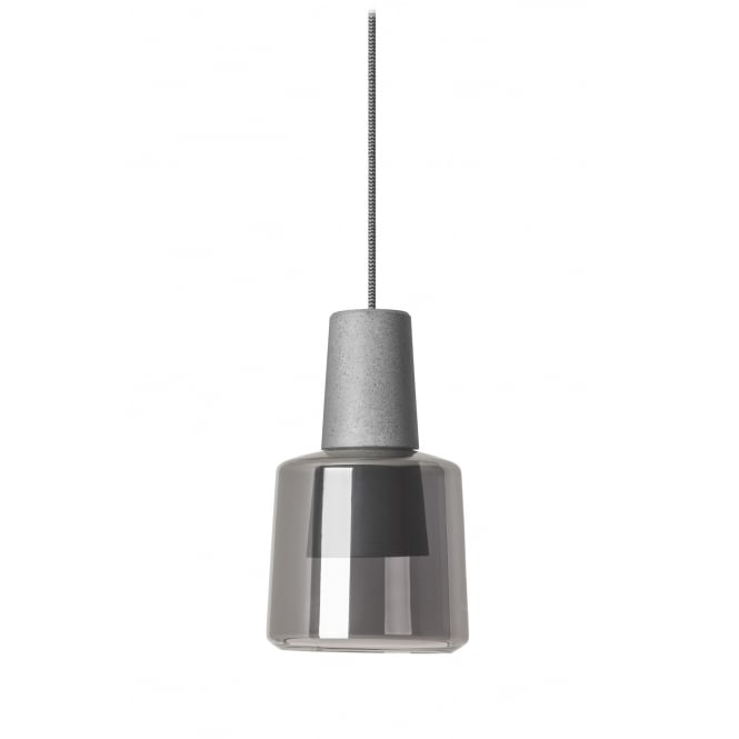 The One KHOI LED ceiling pendant in concrete grey with smokey diffuser