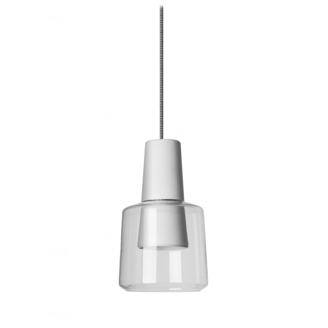 The One KHOI LED ceiling pendant in matte white with transparent diffuser