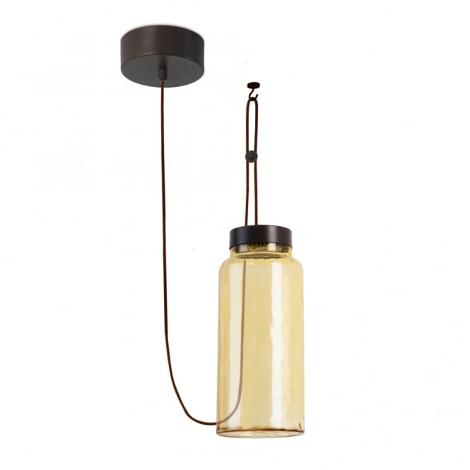 The One RAW amber glass tube LED ceiling pendant