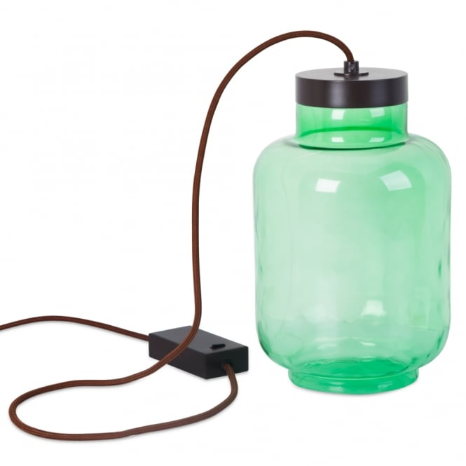 RAW green glass jar LED table lamp