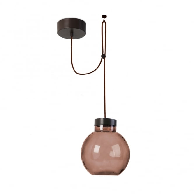 The One RAW rusty brown glass globe jar LED ceiling pendant