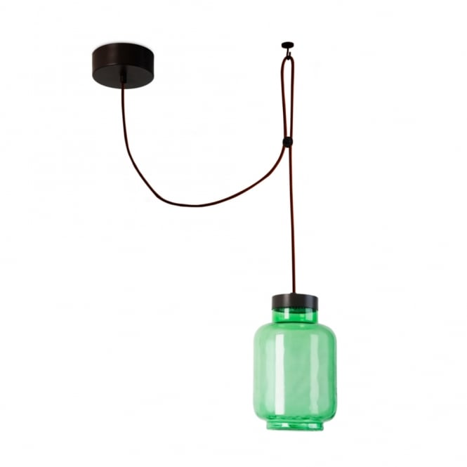 The One RAW single green glass jar LED ceiling pendant