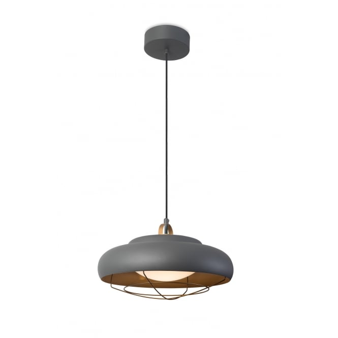The One SUGAR urban grey LED ceiling pendant with golden inner and cage frame