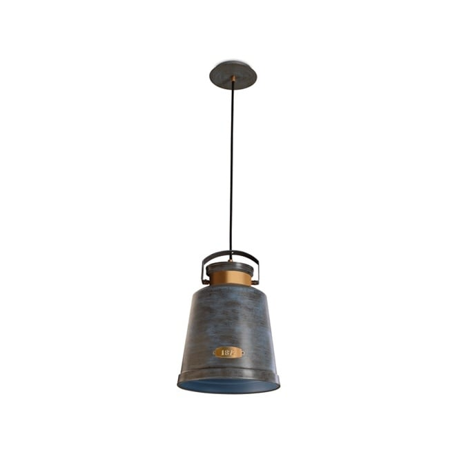 The One VINTAGE rustic style ceiling pendant (metallic blue tint)