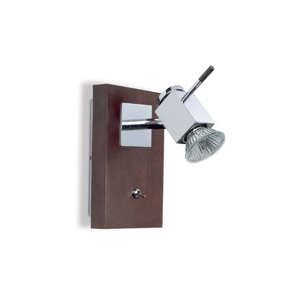Contemporary Single Wall Spot Light in Wood and Chrome