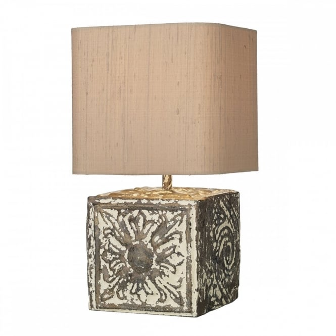 Stone effect table lamp embossed pattern a shabby chic style lamp uk table lamp a distressed cream lamp base rustic lamps aloadofball Gallery