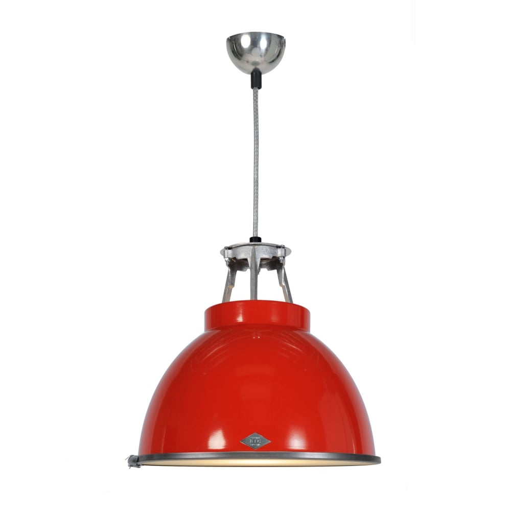 Industrial pendant in red with etched glass diffuser