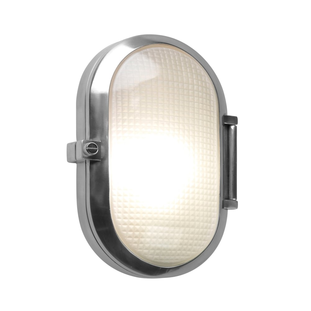 Oval Exterior Bulkhead In Polished Aluminium With Textured Diffuser Wiring Outdoor Light Posts