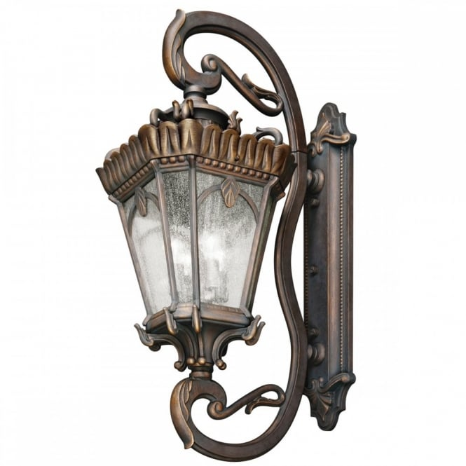 TOURNAI extra large ornate outdoor wall lantern in aged bronze