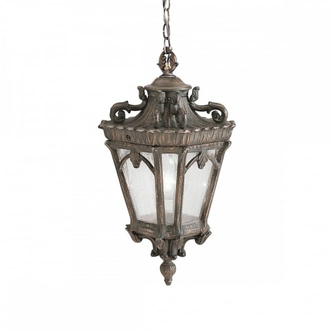 Gothic outdoor medium hanging lantern in matt bronze with seeded glass ornate gothic hanging lantern for exterior use matt bronze with seeded glass mozeypictures