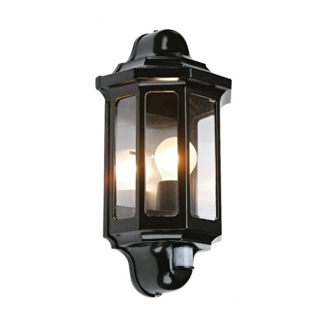 Traditional garden wall light with pir motion sensor great security traditional pir outdoor wall lantern satin black mozeypictures Gallery