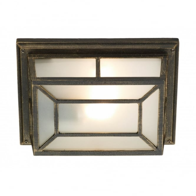 TRENT rustic black gold square garden wall/porch light