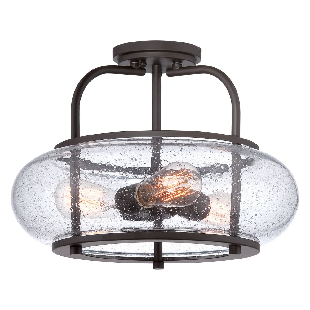 vintage 3lt semi flush ceiling light in old bronze with seeded glass