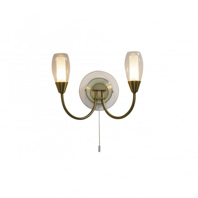 online retailer 9de2c eabd1 TUGEL antique brass double wall light with switch