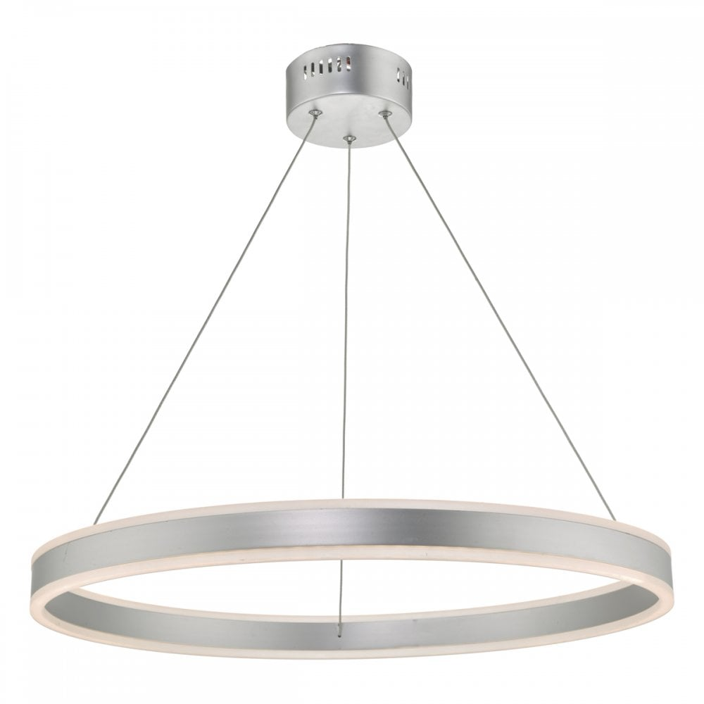 Tybalt circular led ceiling pendant light in silver finish