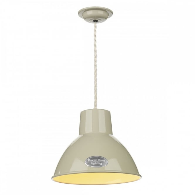 UTILITY retro ceiling pendant in French cream finish (small)