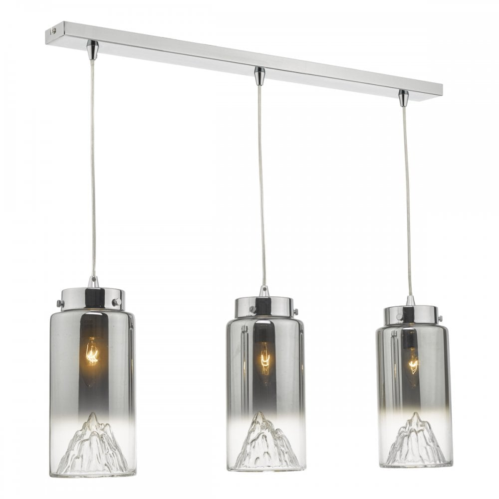 Polished Chrome And Ombre Glass Ceiling Pendant Bar Lighting Company