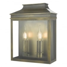weathered brass 2 light outdoor coach lantern