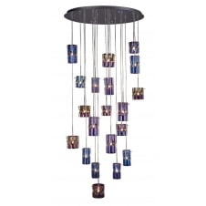 20 light pendant cluster with coloured translucent glass shades