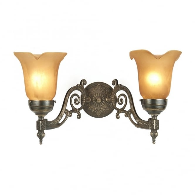 Victorian style aged brass double wall light with amber shades aloadofball Images