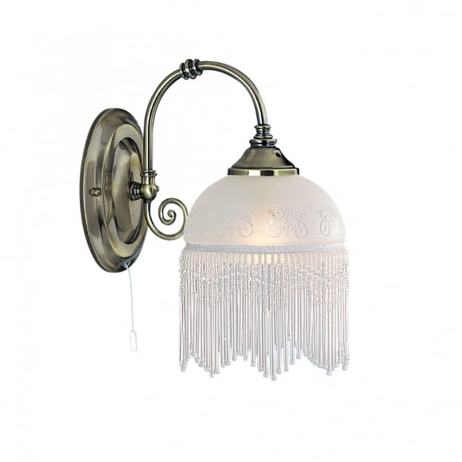 VICTORIANA antique brass wall light fringed glass shade
