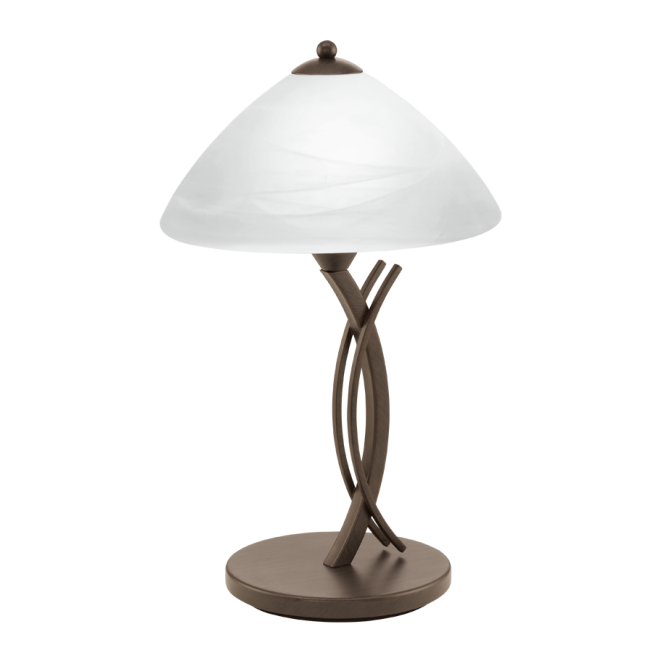 VINOVO traditional dark brown table lamp with white alabaster glass shade